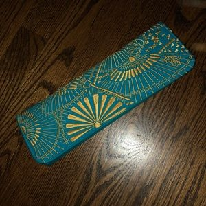 Embroidered Clutch - Turquoise and Gold
